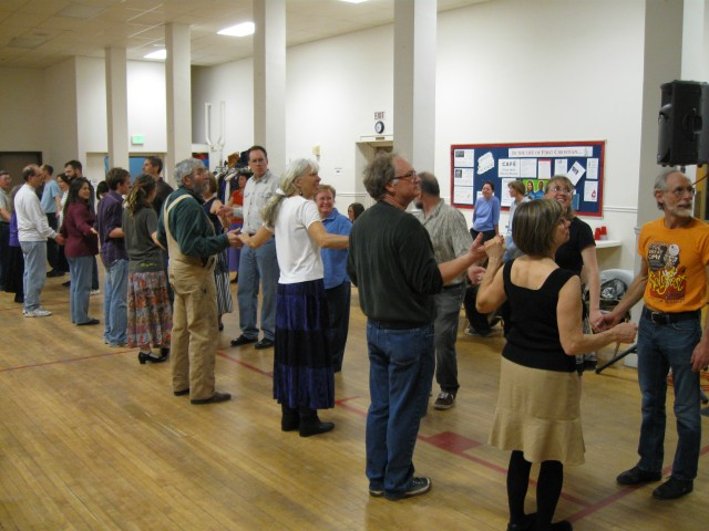 lining up for a contra dance