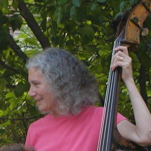 Kathy Gordon playing bass