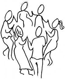 line drawing of people dancing in a ring