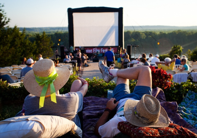 Photo of people watching an outdoor movie